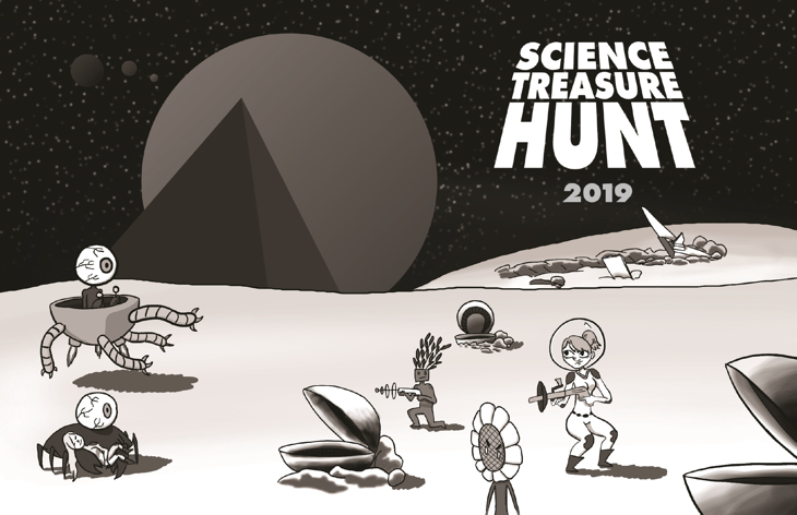 Cover of 2019 Science Treasure Hunt Booklet with cartoon figures serching